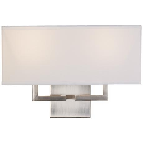 "George Kovacs Rectangle Nickel 11"" High 2-Light Wall Sconce"