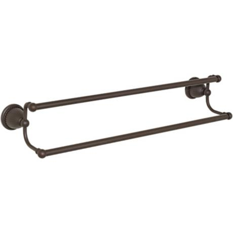 "Oil Rubbed Finish Beaded Bell Base  18"" Towel Bar"
