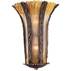 "Metropolitan Amber Murano Glass 17"" High Wall Sconce"