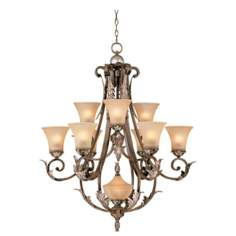 Bronze Gold Finish Acanthus Leaf Ten Light Chandelier