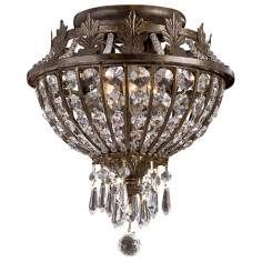"Paris Flea Market Iron and Crystal 11"" Wide Ceiling Light"