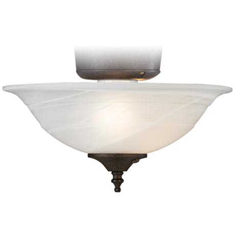 Alabaster Bowl Pull Chain Ceiling Fan Light Kit - #08607 | LampsPlus.