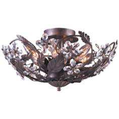 "Paris Flea Market  16"" Wide Rust Crystal Ceiling Fixture"