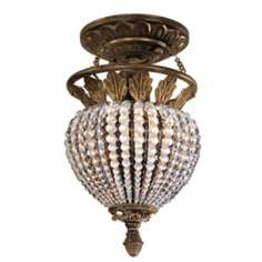 "Weathered Patina with Crystal 7"" Wide Ceiling Light Fixture"