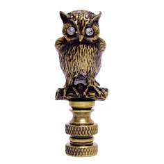 Night Owl Antique Metal with Clear Glass Eyes Finial