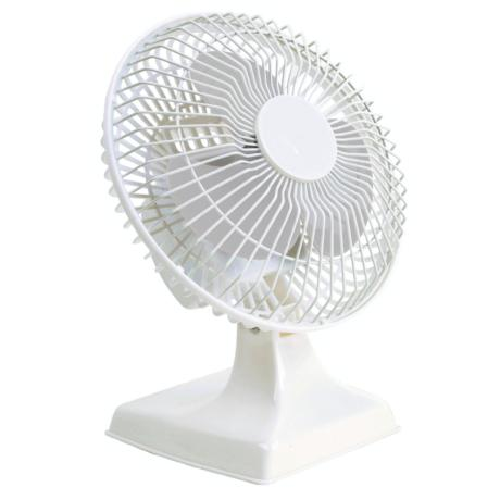"White Finish Two Speed 6"" Desk Fan"