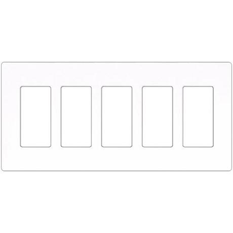 Lutron Claro White 5 Gang Screwless Faceplate