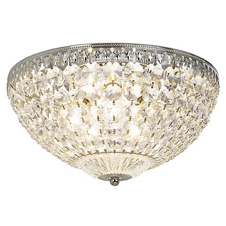 "Schonbek Silver 12"" Wide Crystal Ceiling Light"