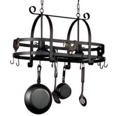 Artcraft Ebony Rooster Pot Rack With Lights