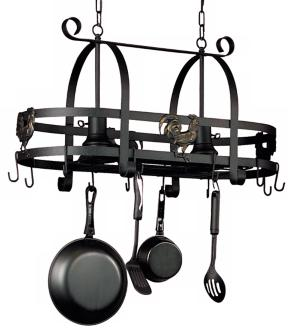 Artcraft Ebony Rooster Pot Rack With Lights (10083)