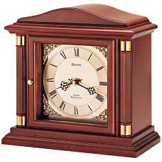 "Bramley Walnut Wood 12"" Wide Bulova Mantel Clock"