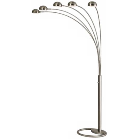Nova Five Light Brushed Nickel Mushroom Arc Floor Lamp