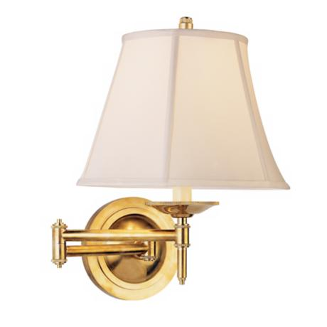 Alvin Collection Natural Brass Plug-In Swing Arm Wall Light