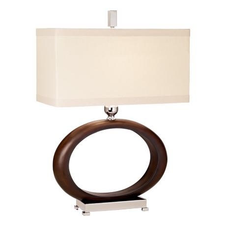 Raschella Walnut Finish Open Oval Table Lamp