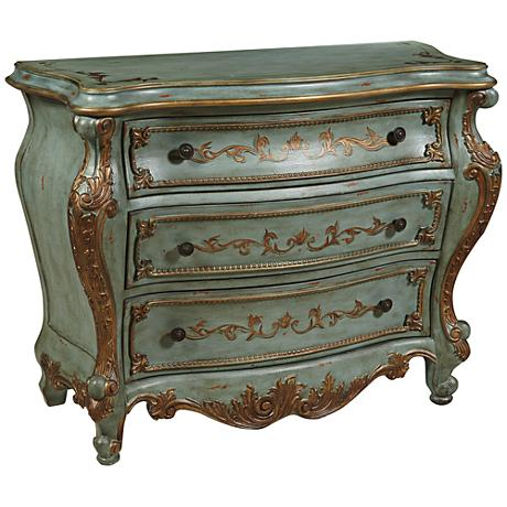 Pulaski Au Clair Green 3-Drawer Bombe Accent Chest