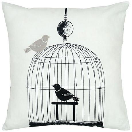 "Orinth Black and White Birdcage 18"" Square Throw Pillow"