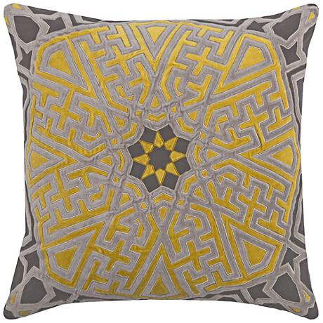 "Jaya Medallion Brunswick Star Gray 20"" Square Throw Pillow"