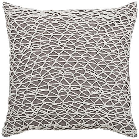 "Baffin Bay White Lace Netting 18"" Square Throw Pillow"