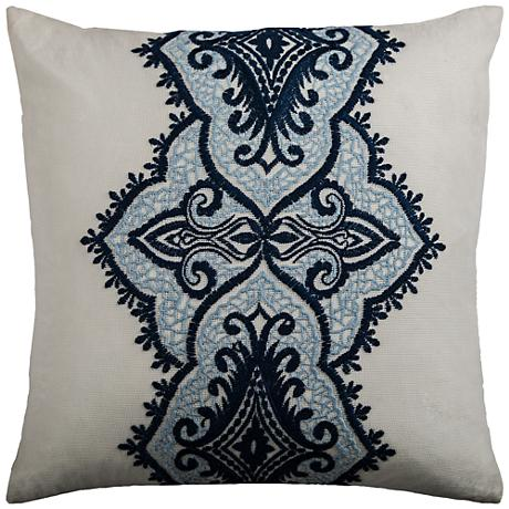 "Amber Navy and Blue Medallion 18"" Square Throw Pillow"