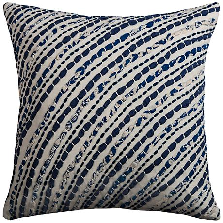 "Waverly Navy Diagonal Stripes 18"" Square Throw Pillow"
