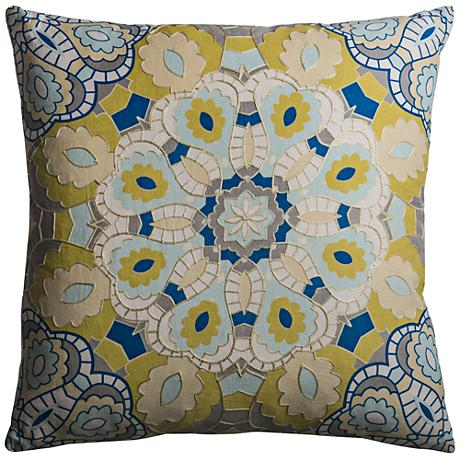 "Mosaic Medallion Multi-Color Yellow 20"" Square Throw Pillow"