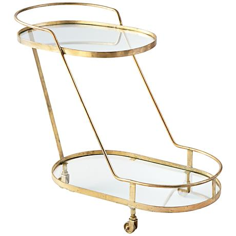 Patin Brass and Glass Bar Cart