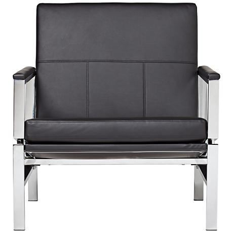 Atlas Black Bonded Leather Accent Chair