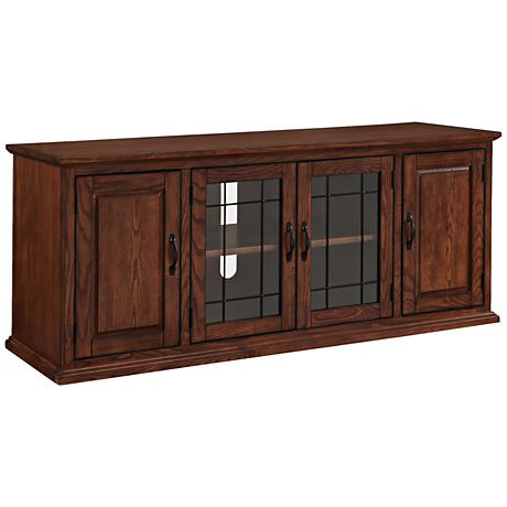 Leick Burnished Oak 4-Door Leaded Glass TV Stand Cabinet