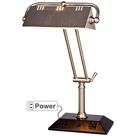 Market Brushed Steel Adjustable Tech Desk Lamp with Outlets
