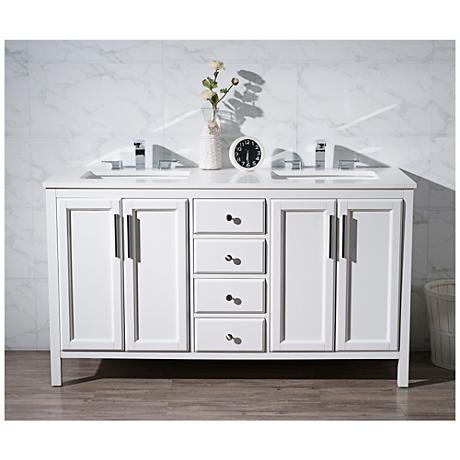 "Emily 59"" White Double Sink Bathroom Vanity"