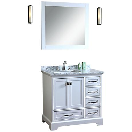 Newport 36 White Single Sink Bathroom Vanity With Mirror 10H92 Www