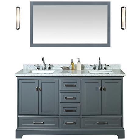 "Newport 60"" Gray Double Sink Bathroom Vanity with Mirror"