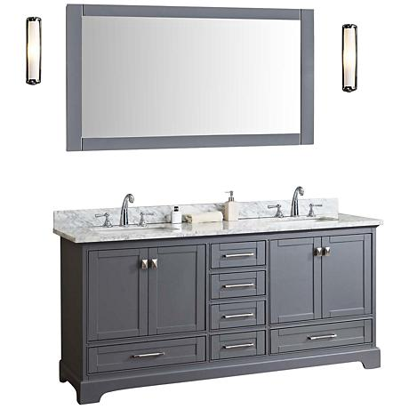 Newport 72 Gray Double Sink Bathroom Vanity With Mirror 10h97