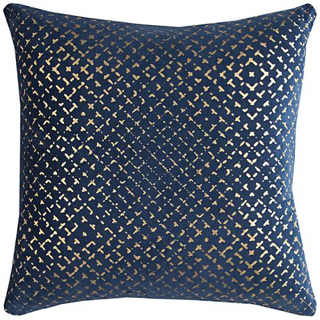 "Blake Geometric Foil Printed Navy 20"" Square Throw Pillow"
