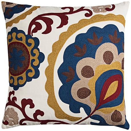 "Madison Multi-Color Brown Medallion 22"" Square Throw Pillow"