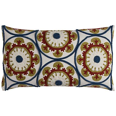 "Naya Multi-Color Red Medallions 21"" x 11"" Throw Pillow"