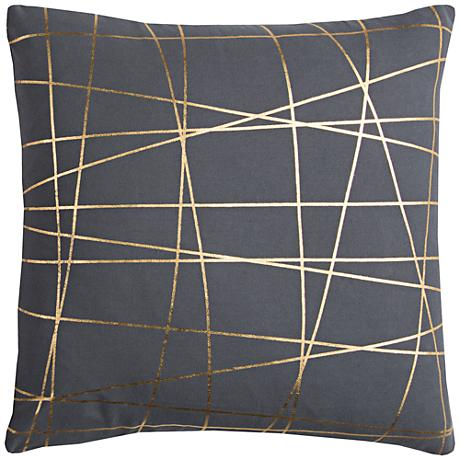 "Rachel Kate Abstract Gray and Gold 20"" Square Throw Pillow"