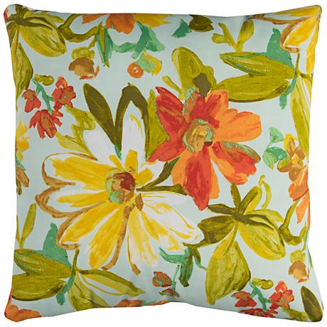 "Elberta Cream Floral 22"" Square Outdoor Throw Pillow"