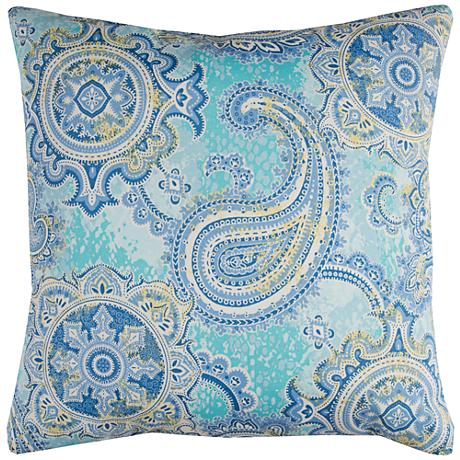 "Houssie Blue Paisley 22"" Square Outdoor Throw Pillow"