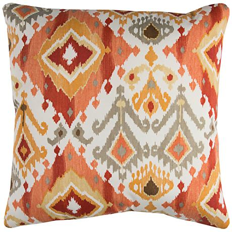 "Lavezzi Rust Diamond 22"" Square Outdoor Throw Pillow"