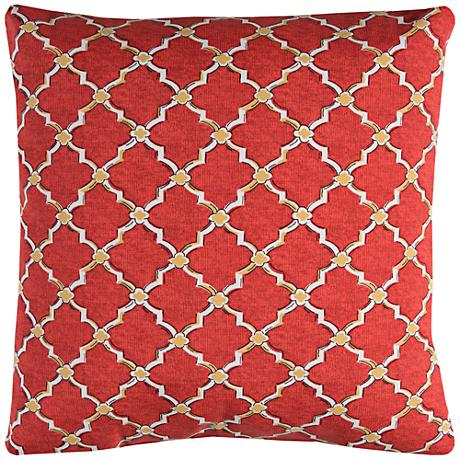 "Eaton Red Diamond 22"" Square Outdoor Throw Pillow"