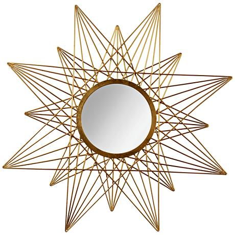 "Estra Gold Leaf 40""x40"" Sunburst Wall Mirror"