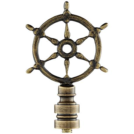 Antique Bronze Ships Wheel Lamp Shade Finial