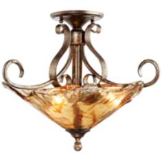 "Amber Scroll Art Glass 20 1/4"" Wide Ceiling Light Fixture"