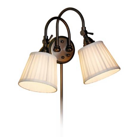 Blaine Pleated Shade Bronze 2-Light Adjustable Wall Lamp