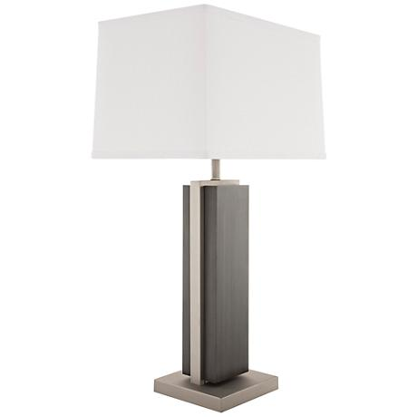 nova bounded charcoal gray wood rectangular table lamp 11j36. Black Bedroom Furniture Sets. Home Design Ideas
