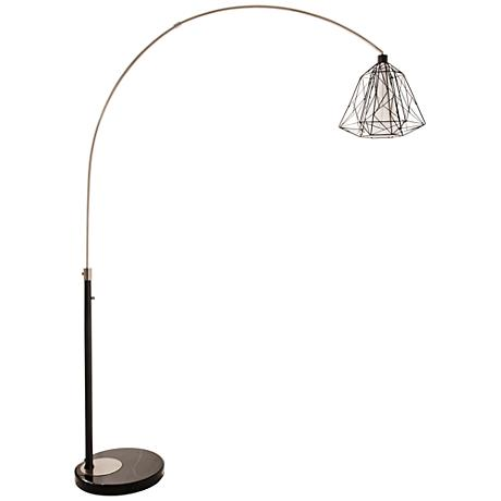 Nova Nest Brushed Nickel Steel Arc Floor Lamp