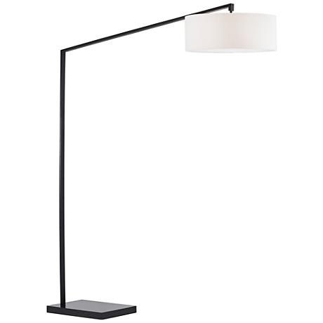 Nova Stretch Tall Matte Black Chairside Arc Floor Lamp
