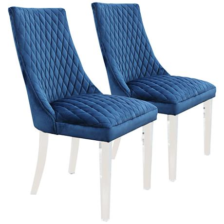 Arlene Dark Blue Mistral Velvet Side Chair Set of 2