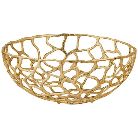 Corvallis Large Gold Metal Freeform Bowl